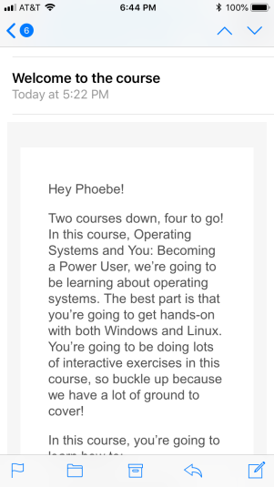 screenshot of an email addressed to someone else named Phoebe