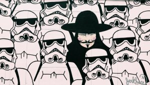 A drawing of Guy Fawkes in a crowd of storm troopers