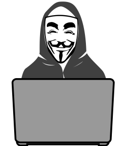 Computer hacker in a Guy Fawkes mask sitting at a laptop